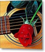 Guitar With Single Red Rose Metal Print