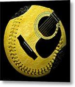 Guitar Yellow Baseball Square Metal Print