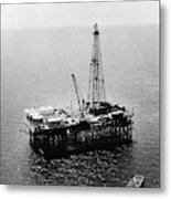 Gulf Of Mexico Oil Rig, 1950 Metal Print