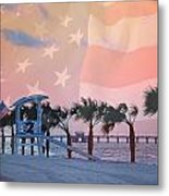 Gulf Shores Beach With Flag Metal Print