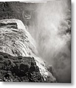 Gullfoss Iceland In Black And White Metal Print