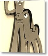 Gumby And Pokey B F F In Sepia Metal Print