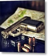 Gun With Bullets And Map Metal Print by Jill Battaglia