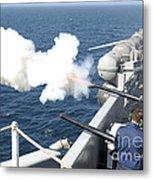 Gunners Mates Test Fire The Ships Metal Print