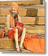 Guru On Ganges Metal Print