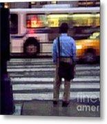 Crossing The Street - Traffic Metal Print