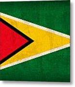 Guyana Flag Vintage Distressed Finish Metal Print