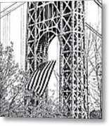 Gw Bridge American Flag In Black And White Metal Print