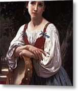 Gypsy Girl With A Basque Drum Metal Print