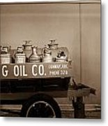 H And G Oil Company In Sepia Metal Print