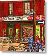 H. Piche Grocery - Goosevillage -paintings Of Montreal History- Neighborhood Boys Play Street Hockey Metal Print