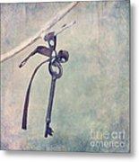 Key With A Ribbon Metal Print