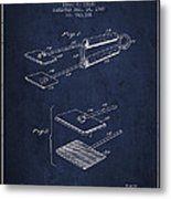 Hair Straightener Patent From 1909 - Navy Blue Metal Print
