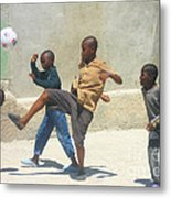 Haitian Boys Playing Soccer Metal Print