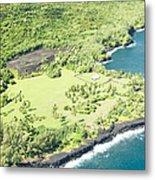 Aerial View Hale O Pi'ilani Heiau Honomaele Hana Maui Hawaii  Metal Print