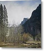 Half Dome And The Merced River In Winter Metal Print