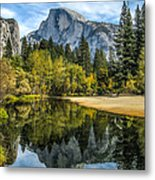Half Dome Reflected In The Merced River Metal Print