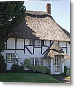 Half-timbered Thatched Cottage Metal Print