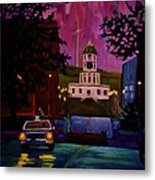 Halifax Night Patrol And Town Clock Metal Print