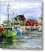 Peggys Cove Nova Scotia Watercolor Metal Print