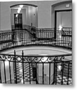 Hall And Stairs In Black And White Metal Print