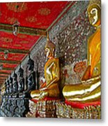 Hall Of Buddhas At Wat Suthat In Bangkok-thailand Metal Print