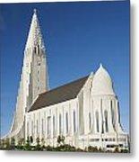 Hallgrimskirkja Church In Reykjavik Iceland Metal Print