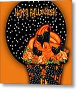 Halloween Black Cat Cupcake 2 Metal Print