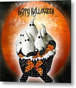 Halloween Ghost Cupcake 1 Metal Print
