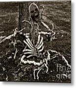 Halloween Green Skeleton Black And White Metal Print