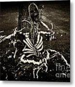 Halloween Green Skeleton Vinette Black And White Metal Print