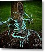 Halloween Green Skeleton Vinette Metal Print