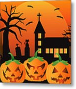 Halloween Jack O Lantern Pumpkins Illustration Metal Print