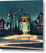 Halloween Night With Pumpkin And Metal Print
