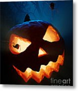 Halloween Pumpkin And Spiders Metal Print