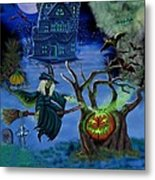Halloween Witch's Coldron Metal Print