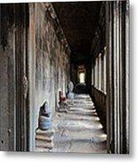 Hallway At Angkor Wat Metal Print