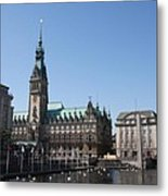 Hamburg - City Hall With Fleet - Germany Metal Print