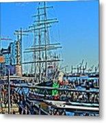 Hamburg Germany Sail Boat With Elbphilharmonie Metal Print