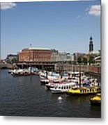 Hamburg Port With Fleet  Metal Print
