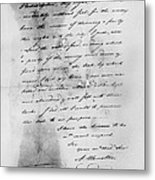 Hamilton: Letter, 1777 Metal Print