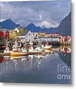 Hamnoy Fishing Village On Lofoten Islands Metal Print