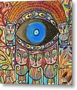 Hamsa Cat Blessing Metal Print