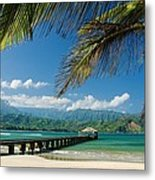 Hanalei Pier And Beach Metal Print