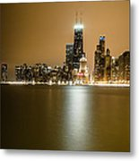 Hancock Building Reflection From North Ave Beach Metal Print
