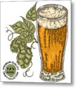 Hand Drawn Beer Glass With Hops Plant Metal Print