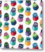 Hand  Drawn Funny Owl With Book Metal Print