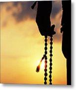 Hand Holding Rudraksha Beads Metal Print