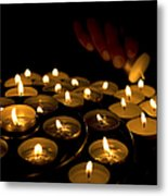 Hand Lighting Candles Metal Print