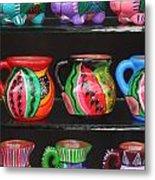 Hand Painted Ceramics Playa Del Carmen Mexico Metal Print
